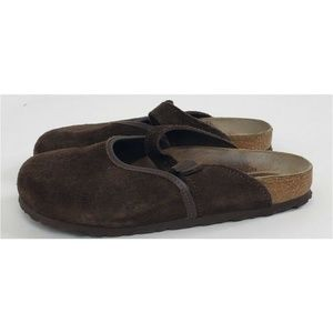Birkenstock Boston Brown Suede Leather Slip On 7